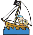 Pirate Boat with Boy vector image
