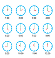 clock that show every hour on white vector image