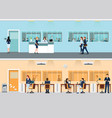 modern office with desk and office worker vector image