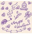 Set of hand drawn symbols valentines day vector image