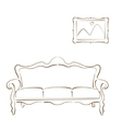 Sketched sofa couch and picture on the wall vector image