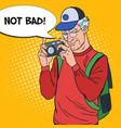 senior man taking picture with camera pop art vector image