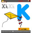 letter k with cartoon kite toy object vector image