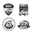 Suv car emblems labels and logos vector image vector image