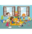 Children doing activities in the living room vector image