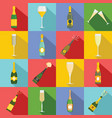 champagne bottle glass icons set flat style vector image