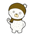 comic cartoon cute polar bear in winter hat and vector image