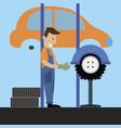 mechanic performs wheel balancing vector image