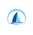 sailing boat yacht abstract logo vector image