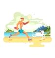 Morning jog on beach with dog vector image
