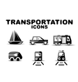 Black glossy transportation icon set vector image vector image