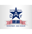 memorial day with a blue star and ribbon usa flag vector image vector image