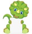 Cute dinosaur cartoon holding blank sign vector image