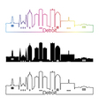 Detroit skyline linear style with rainbow vector image