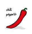 doodle chili hand drawn black contour vector image