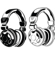 Headphones One Color Drawings vector image