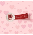 Valentines Day big Sale Label with red Ribbon vector image