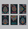 set of six cards or flyers with abstract henna vector image