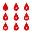 Blood types icons isolated on white background vector image