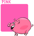 Color Pink and Pig Cartoon vector image