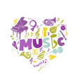 Colorful Card with Music Instruments - hand drawn vector image