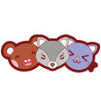 line color happy cute animals head friends vector image
