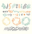 set of design elements floral hand drawn vector image