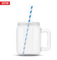 glass mason jar for cocktail and smoothie vector image