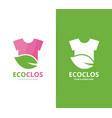 Cloth and leaf logo combination shirt vector image