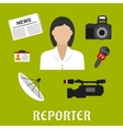 Reporter profession flat icons and symbols vector image