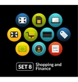Flat icons set 8 - shopping and finance collection vector image