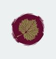 gold grape leaf on round burgundy background vector image
