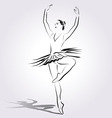 Line sketch of a ballerina vector image