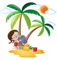 little girl playing ball on the beach vector image