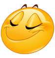 smiling with closed eyes female emoticon vector image