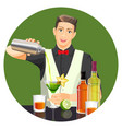 Male bartender making cocktail flat vector image
