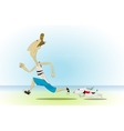 Cartoon man running with his little dog vector image