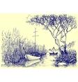 Nature sketch Boats on river fishermen at work vector image