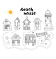 Beach huts and bungalows hand drawn outline doodle vector image
