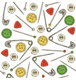 seamless pattern sewing supplies and accessories vector image