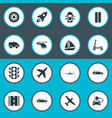 set of simple transportation icons elements vector image