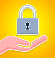 Hand with padlock icon vector image vector image