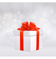 round with gift box with red bow vector image vector image