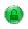 Green unlock button vector image
