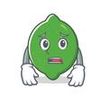 afraid lime mascot cartoon style vector image