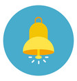 bell ringing icon web button on round blue vector image