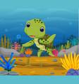 cartoon turtle underwater vector image
