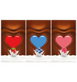 chocolate heart background with berries vector image