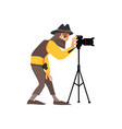 flat man with photo camera on tripod vector image