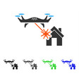 laser drone attacks house flat icon vector image